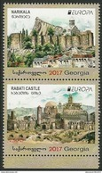"GEORGIA / GEORGIEN.-  EUROPA 2017 -""CASTILLOS - CASTLES - SCHLÖSSER"".-SERIE De 2 V.VERTICALES  De La HOJITA BLOQUE - 2017"