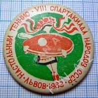 USSR / Badge / Soviet Union / UKRAINE. Table Tennis. Ping Pong Spartakiad Soviet Peoples  Lviv. Lvov 1983 - Tennis Tavolo