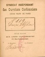Livret Du Syndicat Indépendant Des Ouvriers Cordonniers (cousu Main) De Paris - 1899 - Livres, BD, Revues