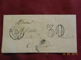 Lettre De 1857 De Paris à Destination De Livarot - Grand Chiffre 30- - Postmark Collection (Covers)