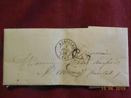 Lettre De 1858 De Aurillac à Destination De Limoux . Grand Chiffre 30 - Postmark Collection (Covers)