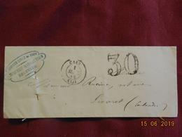 Lettre De 1854 De Caen à Destination De Livarot . Grand Chiffre . - Postmark Collection (Covers)