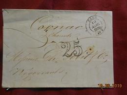Lettre De 1850 De Caen à Destination De Cognac -grand Chiffre- - Postmark Collection (Covers)