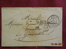 Lettre De 1852 De Lyon à Destination De Grenoble -grand Chiffre- - Postmark Collection (Covers)