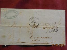 Lettre De 1852 De Jarnac à Destination De Cognac -grand Chiffre- - Postmark Collection (Covers)