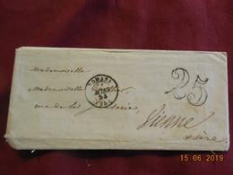 Lettre De 1854 De Romans à Destination De Vienne -grand Chiffre- - Postmark Collection (Covers)