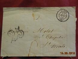 Lettre De 1851 De Paris à Destination De St Malo -grand Chiffre- - Postmark Collection (Covers)