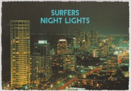 Australia QUEENSLAND QLD Night Lights SURFERS PARADISE Murray Views W1A Postcard '1984 Postmark On 30c Butterfly Stamp - Gold Coast