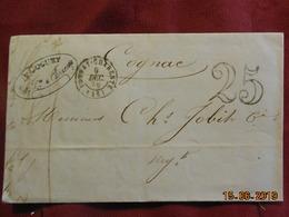 Lettre De 1850 De Tonnay à Destination De Cognac - Grand Chiffre- - Postmark Collection (Covers)