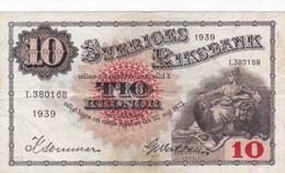 Suède - Billet De 10 Kronor - Gustav Vasa - 1939 - P34v - Suède