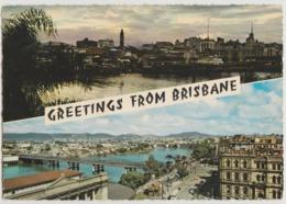 Australia QUEENSLAND QLD River Views Bridges Ships BRISBANE Greetings Dual View Engelander Kruger 794/13 Postcard 1960s - Brisbane