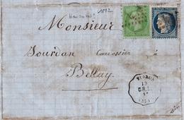 Lettre 1872 Voiron Isère Belley Ain André Cottavo Timbre Napoléon III 5 Centimes + Cérès 20 Centimes - 1871-1875 Cérès