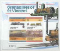 ST.VINCENT GRENADINES 1985 Trains Ser III.IMPERF.sheetlet Numbered - St.-Vincent En De Grenadines