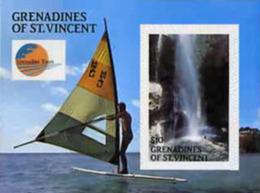 ST.VINCENT GRENADINES 1988 Windsurfing Waterfall (airways) $10.00 IMPERF.SHEETLET - St.-Vincent En De Grenadines