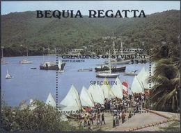 ST.VINCENT GRENADINES 1988 Ships Regatta Port Elizabeth $8 SPECIMEN Sheetlet - St.-Vincent En De Grenadines