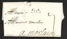 Calvados-Lettre De Caen Pour Morlaix-1749 - 1701-1800: Précurseurs XVIII
