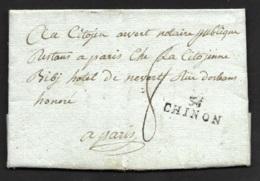 Indre Et Loire-Lettre Avec Marque 36 CHINON (27*9)-Pour Paris-1798 - 1701-1800: Précurseurs XVIII