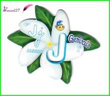 """Magnet Pochoir GERVAIS L'Alphabet Avec Les Fruits Et Les Légumes """" Le J De Jasmin """" Fleur - Letters & Digits"""