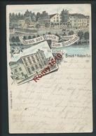 Gruss Aus Broich. Zum Stockfisch; Restaurant.   Litho Multivues Voyagée En 1897.scan Recto/verso. - Mülheim A. D. Ruhr