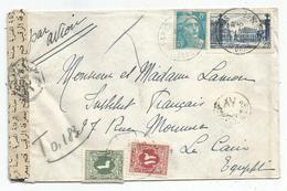 GANDON 8FR +25FR NANCY LETTRE AVION PARIS 1949 POUR EGYPTE TAXE 12M+6M LE CAIRE + BANDE - Marcophilie (Lettres)