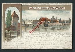 Gruss Aus Konstanz. Illustration Signée K. Mutter.  Voyagée En 1897.  Scan Recto/verso. - Konstanz