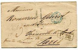 MOSCOU Pour PARIS LSC Taxe De 11+ Marque échange P.38+ Entrée Bleue 3 PRUSSE 3 ERQUELINES Du 16/07/1866 - Postmark Collection (Covers)