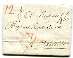 ITALIE  PALERME Pour MARSEILLE LAC Du 22/12/1775 Taxée à 46 - 1701-1800: Précurseurs XVIII