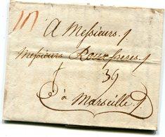 ITALIE  PALERME Pour MARSEILLE LAC Du 24/01/1782 Taxée à 39 - 1701-1800: Précurseurs XVIII