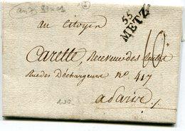 MOSELLE De METZ LAC Du 11/11/1798 Linéaire 23x11 Et Taxe De 10 Pour PARIS - 1701-1800: Précurseurs XVIII