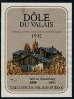 Etiquette De Vin // Dôle, AVIVO Monthey 1959-1994 - Etiquettes