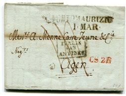 ITALIE De PORT MAURICE Pour AGEN LAC Du 1/03/1825 Taxe De 14 Transit CS2R Et Entrée Par ANTIBES - Postmark Collection (Covers)