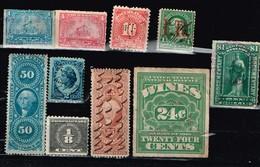 Lot Etats-Unis Anciens Timbres Fiscaux à Identifier.e - Stamps