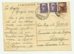 CARTOLINA POSTALE 2 FRANCOBOLLI  CENT. 50 + LIRE 3 - LA SPEZIA - FIRENZE - Used