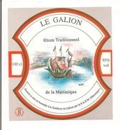 Etiquette  Rhum  Traditionnel - 55% 100cl - Distillerie  LE GALION -  MARTINIQUE - - Rhum
