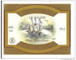 Etiquette  Rhum  Traditionnel  Grand Arôme - 40% 70cl - Distillerie  LE GALION -  MARTINIQUE - Thème Bateau - - Rhum