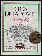 Etiquette De Vin // Lutry, Clos De La Pompe, Services Industriels Lausanne - Etiquettes