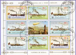 Sao Tome And Principe 1984. 25th ANNIVERSARY OF THE INTERNATIONAL MARITIME ORGANISATION. Steamers. Airship. Used. - Sao Tome Et Principe