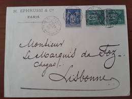 Enveloppe De Paris Pour Lisbonne Portugal 1886 Affranchie A 25c Par Sage 15c Bleu Et 2x5c Vert. - Postmark Collection (Covers)