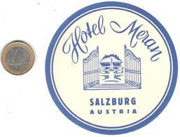 ETIQUETA DE HOTEL  -  HOTEL MERAN  -SALZBURG  -AUSTRIA - Etiquetas De Hotel