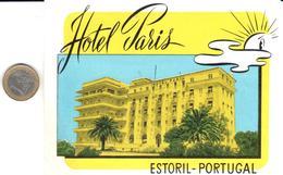 ETIQUETA DE HOTEL  -  HOTEL PARIS  -ESTORIL -PORTUGAL - Etiquetas De Hotel