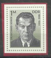 """DDR 2115 Aus Bl.44 """" Dr. Richard Sorge '76""""  Postfrisch.Mi 1,80 - Ungebraucht"""