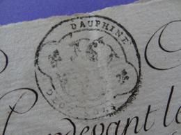 1751 Généralité De Grenoble (Isère) Papier Timbré N°208 De Deux Sols Cession Commune De La Cote Saint-André - Seals Of Generality