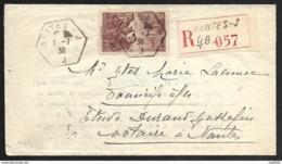 Lettre-Recommandé De Nantes-Cachet Hexagonal Sur N°390 - Postmark Collection (Covers)