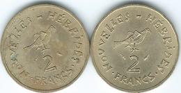 New Hebrides - 2 Francs - 1970 - Owl (KM5.1) & 1975 - Dolphin & IEOM (KM5.2) - Colonies