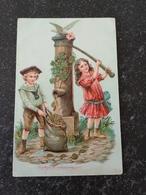 Gefeliciteerd For NL 1915 CHILDREN AT WATERPUMP With Lucky Clover - Wensen En Feesten