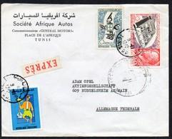Tunesien 1972 MiNr. 743, 678, 672  Auf Express- Brief/ Letter In Die BRD ; EXPO '67 - Tunesien (1956-...)