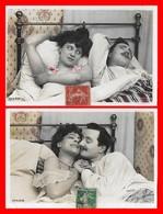 2 CPA FANTAISIES. Couples Dans Un Lit, Avant Et Après. Carte Glacé...I914 - Couples