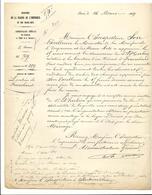 Courrier Relatif à La Location Du Terrain De Franchard - 16/03/1869 - Ministère De La Maison De L'Empereur - Historical Documents