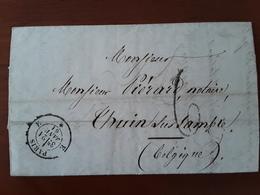 Letrre En Port Du  De Paris Pour La Belgique (THUIN) 1861. Taxe 6 Au Tampon. Cachet D Entree France Par Erquelinnes. - Postmark Collection (Covers)