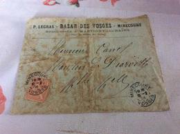 MIRECOURT Enveloppe Bazar Des Vosges P LEGRAS Succursale à MARTIGNY LES BAINS - Mirecourt